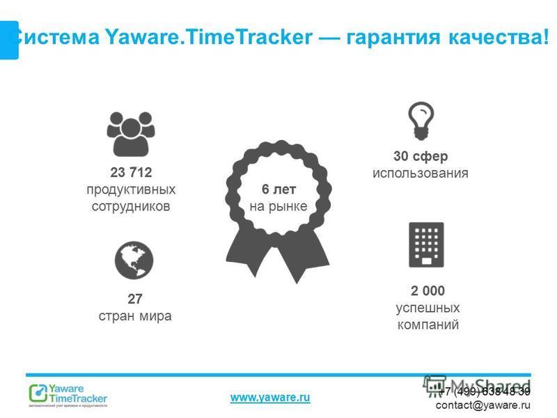 +7 (499) 638 48 39 contact@yaware.ru www.yaware.ru Система Yaware.TimeTracker гарантия качества! 23 712 продуктивных сотрудников 6 лет на рынке 2 000 успешных компаний 27 стран мира 30 сфер использования