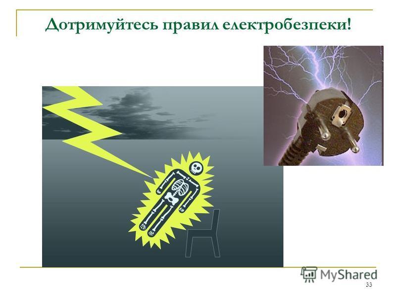 33 Дотримуйтесь правил електробезпеки!