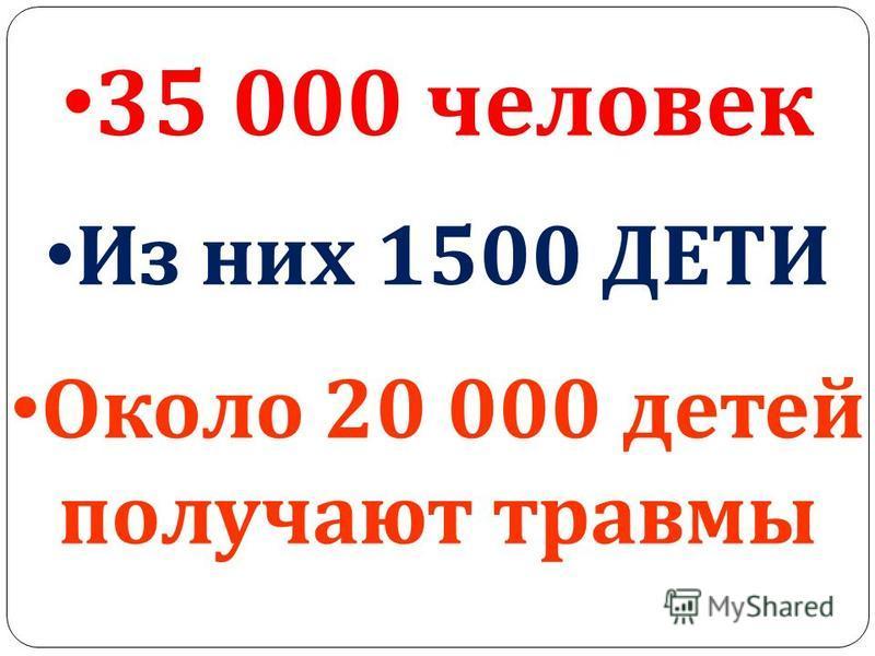 35 000 человек Из них 1500 ДЕТИ Около 20 000 детей получают травмы
