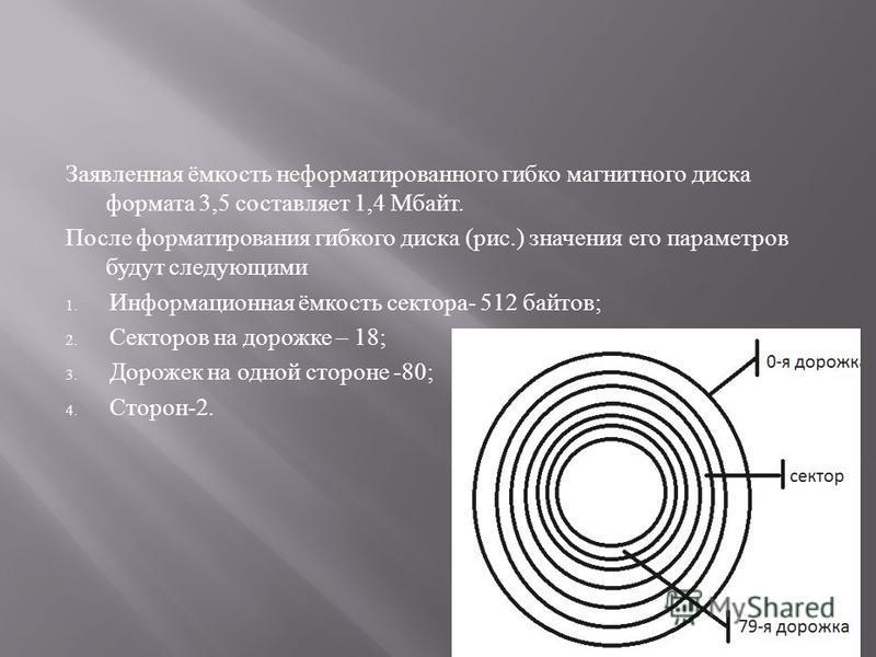 Заявленная ёмкость неформатированного гибко магнитного диска формата 3,5 составляет 1,4 Мбайт. После форматирования гибкого диска ( рис.) значения его параметров будут следующими 1. Информационная ёмкость сектора - 512 байтов ; 2. Секторов на дорожке