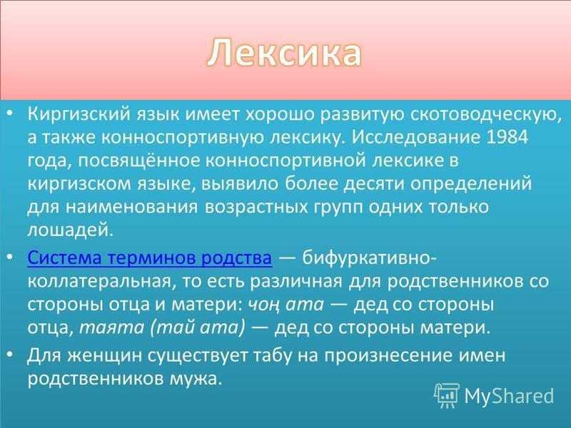 Киргизский язык имеет хорошо развитую скотоводческую, а также конноспортивную лексику. Исследование 1984 года, посвящённое конноспортивной лексикие в киргизском языкие, выявило более десяти определений для наименования возрастних групп одних только л