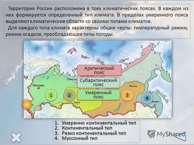 1 1 2 2 3 3 4 4 Арктический пояс Арктический пояс Субарктический пояс Субарктический пояс Умеренный пояс Территория России расположена в трех климатических поясах. В каждом из них формируется определенный тип климата. В пределах умеренного пояса выде