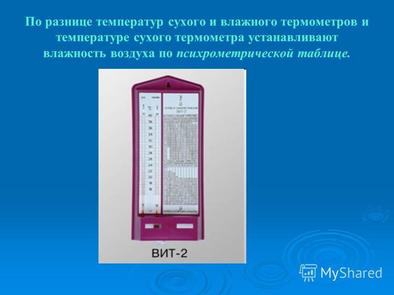 По разнице температур сухого и владного термометров и температуре сухого термометра устанавливают владность воздуха по психрометрической таблице.