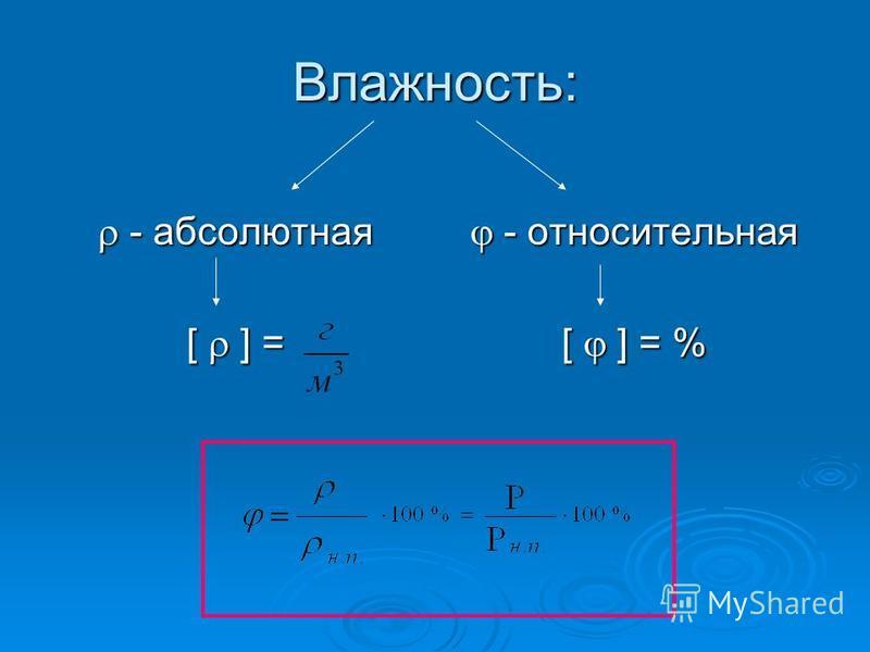 Влажность: - абсолютная - абсолютная [ ] = - относительная - относительная [ ] = %
