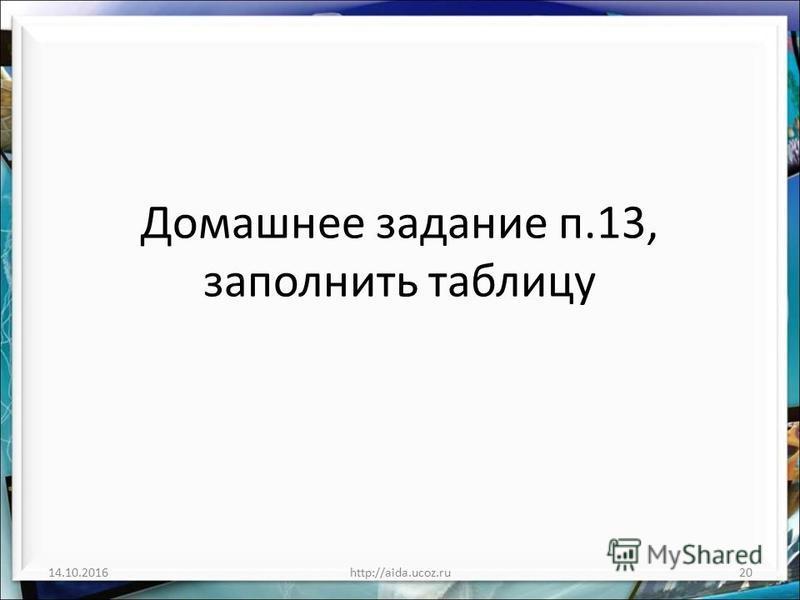 Домашнее задание п.13, заполнить таблицу 14.10.2016http://aida.ucoz.ru20