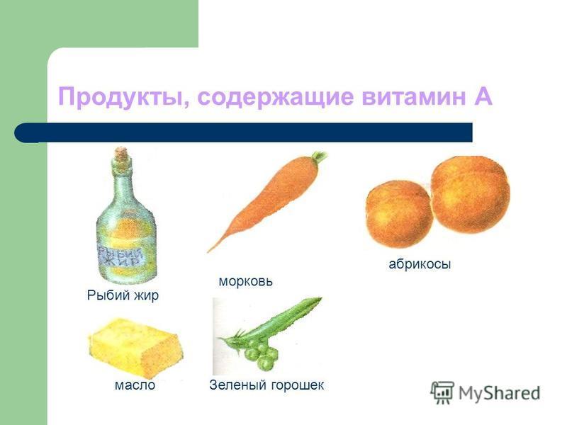 Продукты, содержащие витамин А Рыбий жир морковь абрикосы масло Зеленый горошек