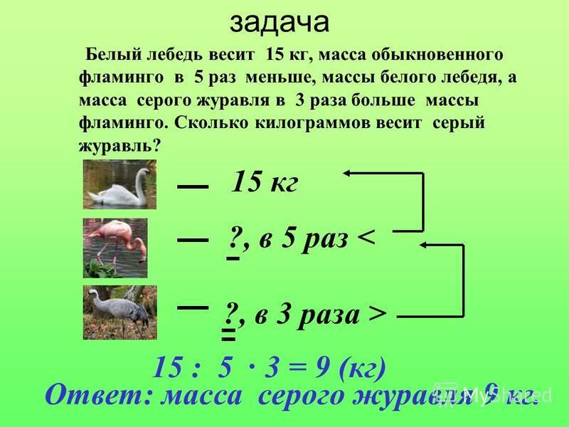 задача Белый лебедь весит 15 кг, масса обыкновенного фламинго в 5 раз меньше, массы белого лебедя, а масса серого журавля в 3 раза больше массы фламинго. Сколько килограммов весит серый журавль? 15 кг ?, в 5 раз < ?, в 3 раза > 15 : 5 3 = 9 (кг). Отв