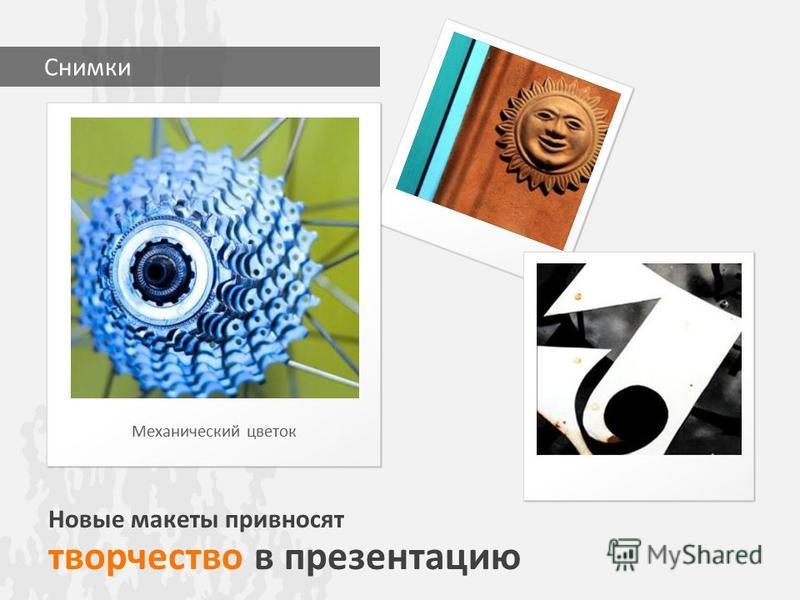 Новые макеты привносят творчество в презентацию Механический цветок Снимки
