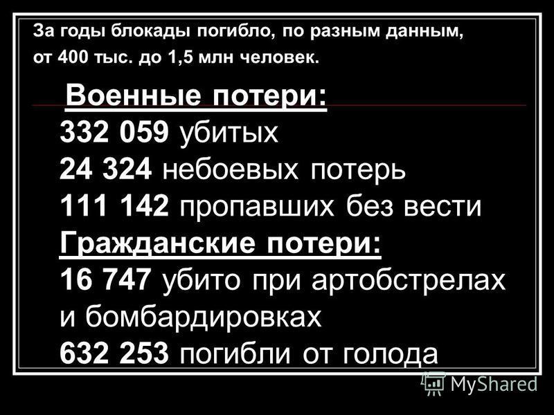 Военные потери: 332 059 убитых 24 324 небоевых потерь 111 142 пропавших без вести Гражданские потери: 16 747 убито при артобстрелах и бомбардировках 632 253 погибли от голода За годы блокады погибло, по разным данным, от 400 тыс. до 1,5 млн человек.