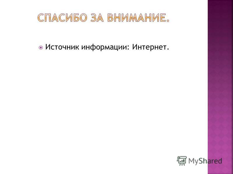 Источник информации: Интернет.