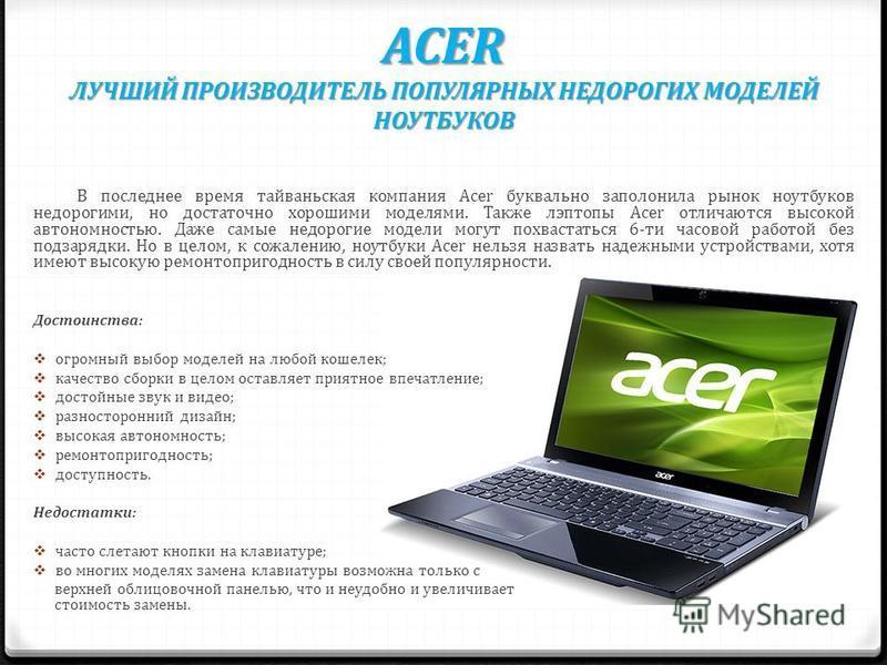 ACER ЛУЧШИЙ ПРОИЗВОДИТЕЛЬ ПОПУЛЯРНЫХ НЕДОРОГИХ МОДЕЛЕЙ НОУТБУКОВ В последнее время тайваньская компания Acer буквально заполонила рынок ноутбуков недорогими, но достаточно хорошими моделями. Также лэптопы Acer отличаются высокой автономностью. Даже с
