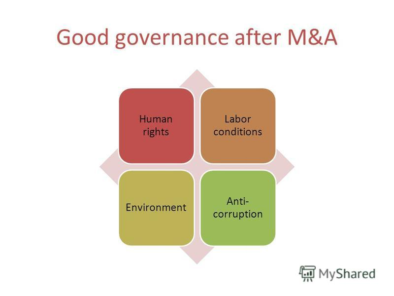 Good governance after M&A Human rights Labor conditions Environment Anti- corruption