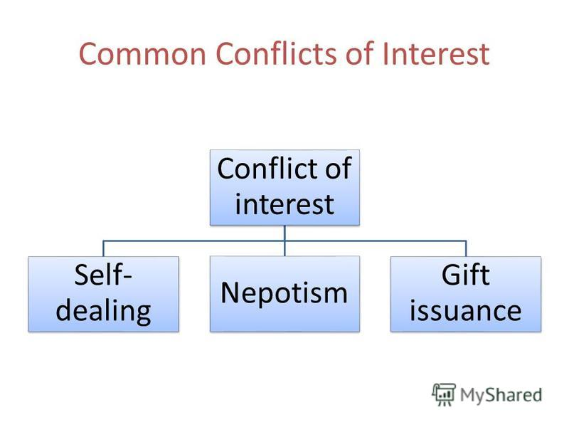 Common Conflicts of Interest Conflict of interest Self- dealing Nepotism Gift issuance