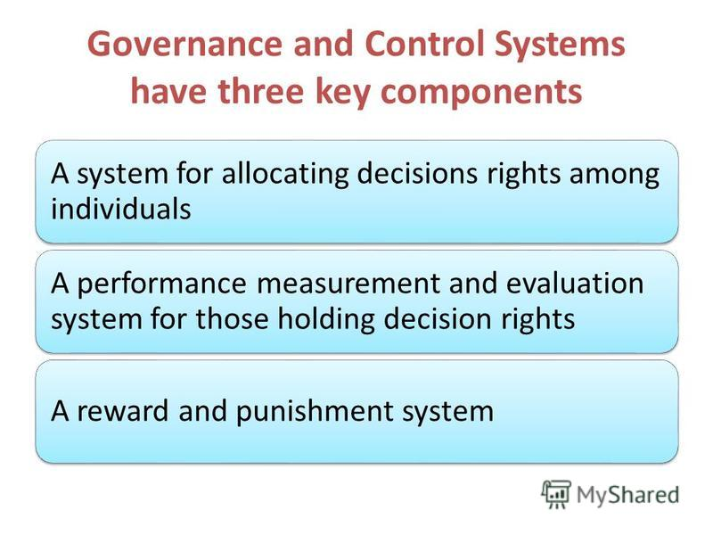 Governance and Control Systems have three key components A system for allocating decisions rights among individuals A performance measurement and evaluation system for those holding decision rights A reward and punishment system