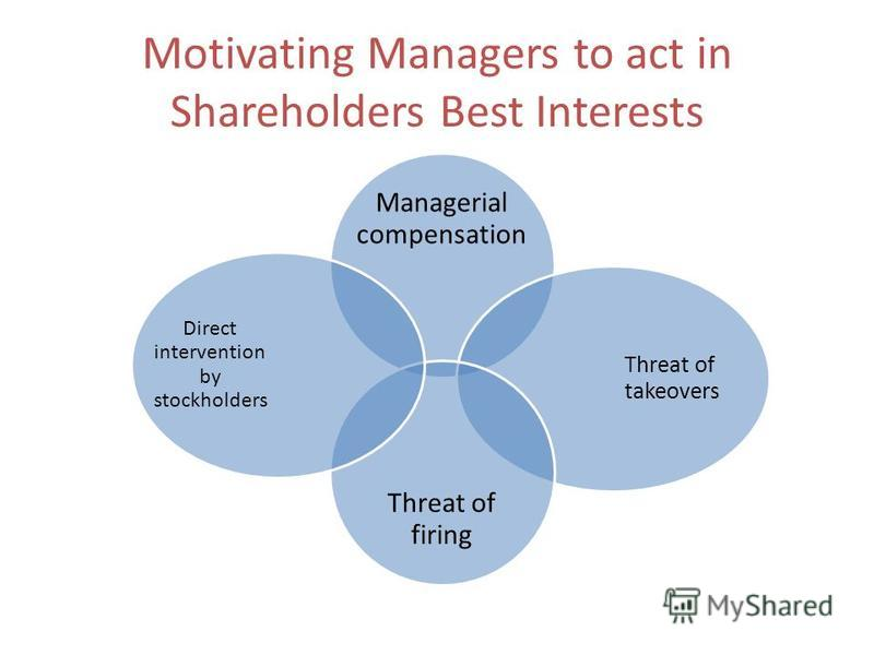 Motivating Managers to act in Shareholders Best Interests Managerial compensation Threat of takeovers Threat of firing Direct intervention by stockholders