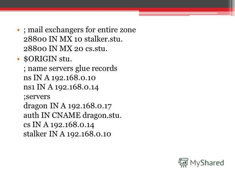 ; mail exchangers for entire zone 28800 IN MX 10 stalker.stu. 28800 IN MX 20 cs.stu. $ORIGIN stu. ; name servers glue records ns IN A 192.168.0.10 ns1 IN A 192.168.0.14 ;servers dragon IN A 192.168.0.17 auth IN CNAME dragon.stu. cs IN A 192.168.0.14