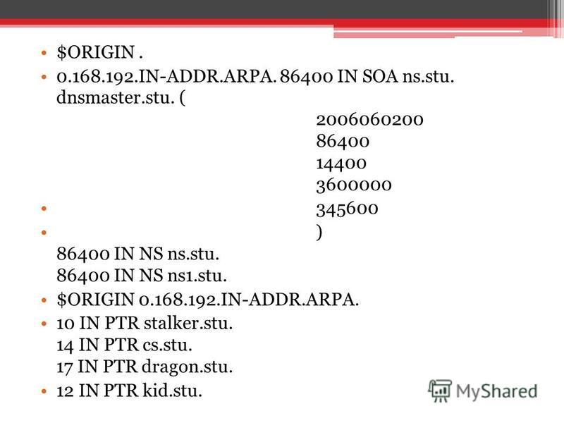 $ORIGIN. 0.168.192.IN-ADDR.ARPA. 86400 IN SOA ns.stu. dnsmaster.stu. ( 2006060200 86400 14400 3600000 345600 ) 86400 IN NS ns.stu. 86400 IN NS ns1.stu. $ORIGIN 0.168.192.IN-ADDR.ARPA. 10 IN PTR stalker.stu. 14 IN PTR cs.stu. 17 IN PTR dragon.stu. 12
