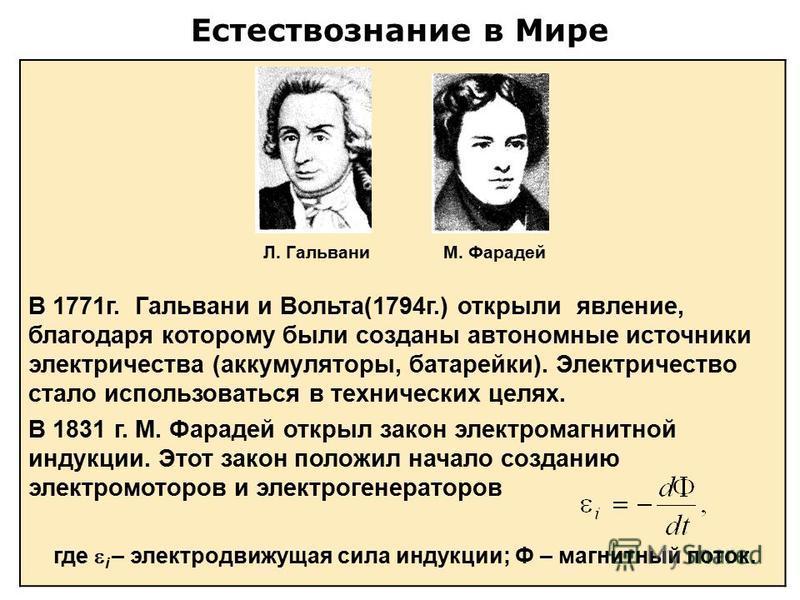 Естествознание в Мире В 1771 г. Гальвани и Вольта(1794 г.) открыли явление, благодаря которому были созданы автономные источники электричества (аккумуляторы, батарейки). Электричество стало использоваться в технических целях. В 1831 г. М. Фарадей отк