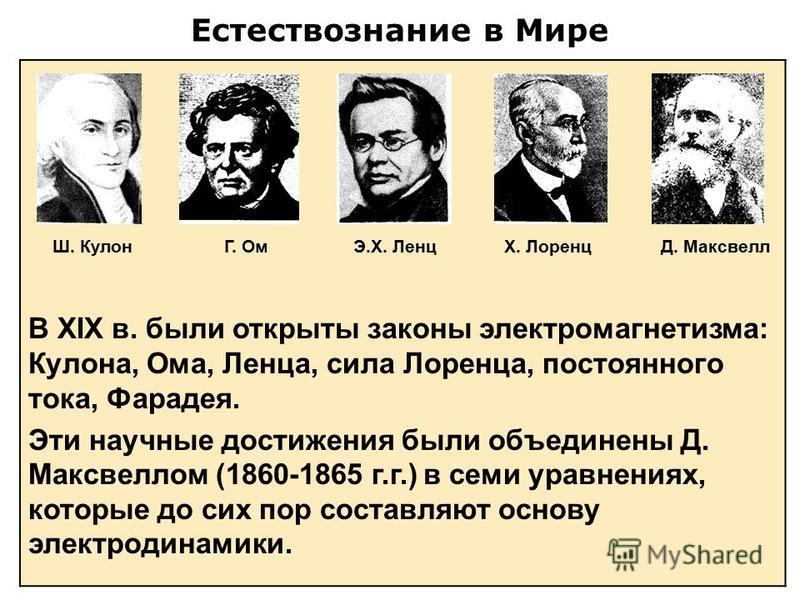 Естествознание в Мире В XIX в. были открыты законы электромагнетизма: Кулона, Ома, Ленца, сила Лоренца, постоянного тока, Фарадея. Эти научные достижения были объединены Д. Максвеллом (1860-1865 г.г.) в семи уравнениях, которые до сих пор составляют