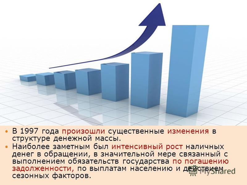В 1997 года произошли существенные изменения в структуре денежной массы. Наиболее заметным был интенсивный рост наличных денег в обращении, в значительной мере связанный с выполнением обязательств государства по погашению задолженности, по выплатам н
