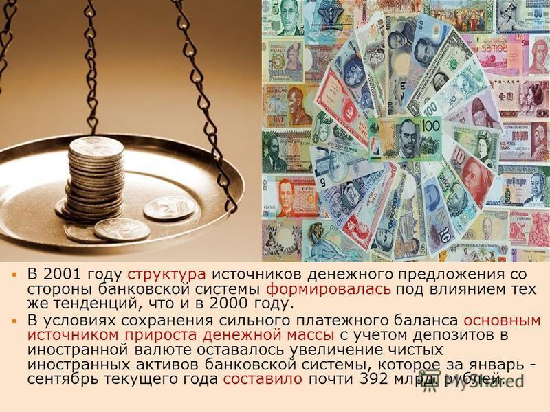 В 2001 году структура источников денежного предложения со стороны банковской системы формировалась под влиянием тех же тенденций, что и в 2000 году. В условиях сохранения сильного платежного баланса основным источником прироста денежной массы с учето