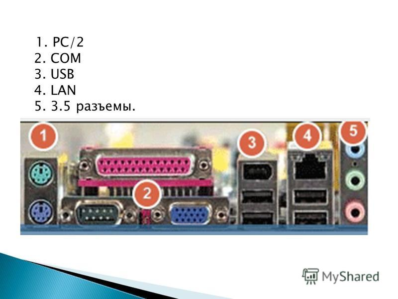 1. PC/2 2. COM 3. USB 4. LAN 5. 3.5 разъемы.