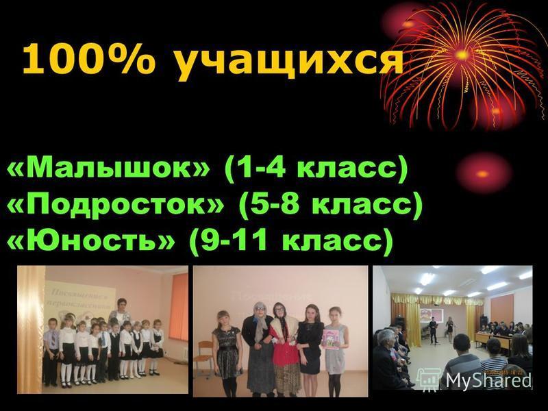«Малышок» (1-4 класс) «Подросток» (5-8 класс) «Юность» (9-11 класс) 100% учащихся