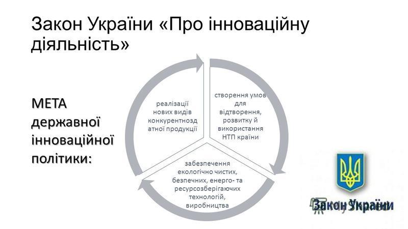 Закон України «Про інноваційну діяльність» створення умов для відтворення, розвитку й використання НТП країни забезпечення екологічно чистих, безпечних, енерго- та ресурсозберігаючих технологій, виробництва реалізації нових видів конкурентнозд атної