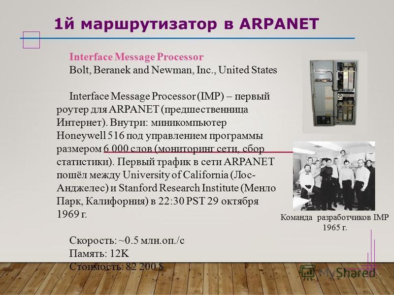 1 й маршрутизатор в ARPANET Interface Message Processor Bolt, Beranek and Newman, Inc., United States Interface Message Processor (IMP) – первый роутер для ARPANET (предшественница Интернет). Внутри: миникомпьютер Honeywell 516 под управлением програ