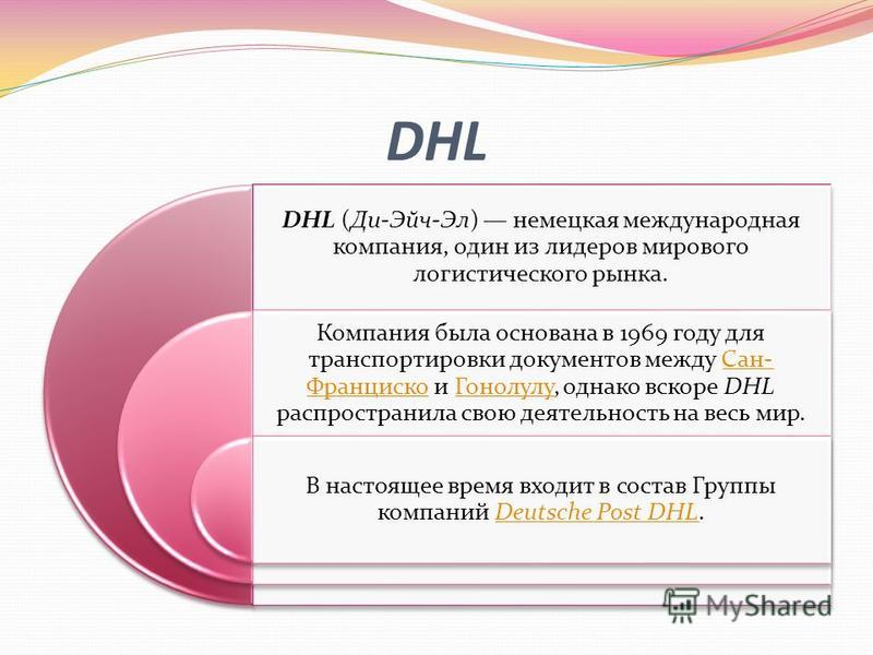 DHL DHL (Ди-Эйч-Эл) немецкая международная компания, один из лидеров мирового логистического рынка. Компания была основана в 1969 году для транспортировки документов между Сан- Франциско и Гонолулу, однако вскоре DHL распространила свою деятельность