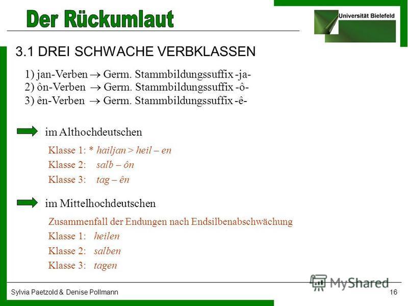 Sylvia Paetzold & Denise Pollmann16 3.1 DREI SCHWACHE VERBKLASSEN 1) jan-Verben Germ. Stammbildungssuffix -ja- 2) ôn-Verben Germ. Stammbildungssuffix -ô- 3) ên-Verben Germ. Stammbildungssuffix -ê- im Althochdeutschen Klasse 1: * hailjan > heil – en K