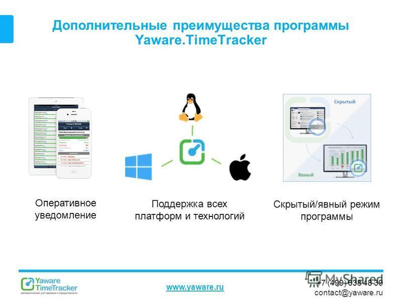 +7 (499) 638 48 39 contact@yaware.ru www.yaware.ru Дополнительные преимущества программы Yaware.TimeTracker Скрытый/явный режим программы Поддержка всех платформ и технологий Оперативное уведомление