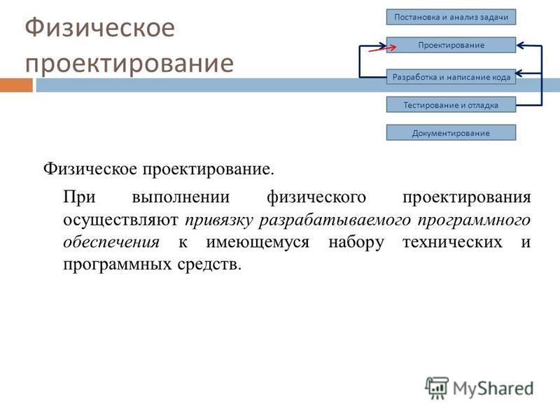 Физическое проектирование. При выполнении физического проектирования осуществляют привязку разрабатываемого программного обеспечения к имеющемуся набору технических и программных средств. Физическое проектирование Постановка и анализ задачи Проектиро