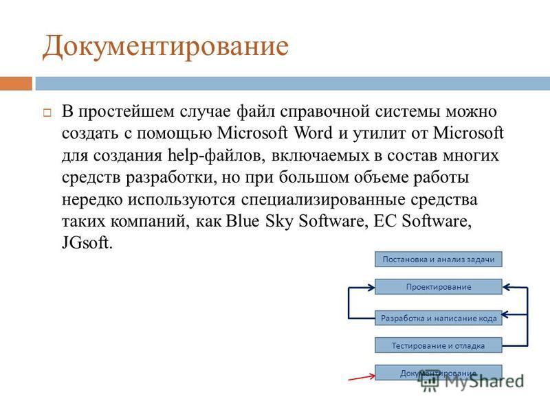 Документирование В простейшем случае файл справочной системы можно создать с помощью Microsoft Word и утилит от Microsoft для создания help-файлов, включаемых в состав многих средств разработки, но при большом объеме работы нередко используются специ