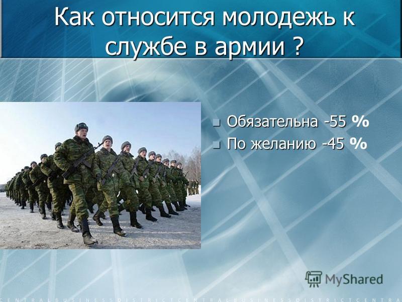 Как относится молодежь к службе в армии ? Обязательна -55 % По желанию -45 %