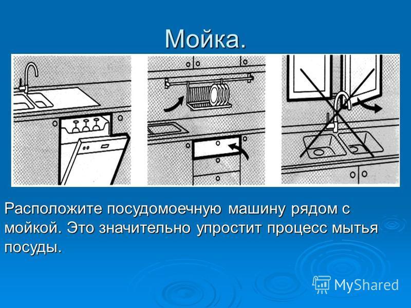 Мойка. Расположите посудомоечную машину рядом с мойкой. Это значительно упростит процесс мытья посуды.