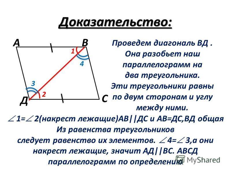 Доказательство: Проведем диагональ ВД. Она разобьет наш параллелограмм на два треугольника. Эти треугольники равны по двум сторонам и углу между ними. 1= 2(накрест лежащие)АВ||ДС и АВ=ДС,ВД общая Из равенства треугольников следует равенство их элемен