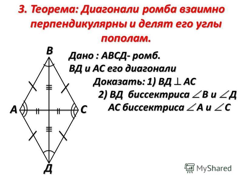 3. Теорема: Диагонали ромба взаимно перпендикулярны и делят его углы пополам. Дано : АВСД- ромб. ВД и АС его диагонали Доказать: 1) ВД АС 2) ВД биссектриса В и Д АС биссектриса А и СВС А Д