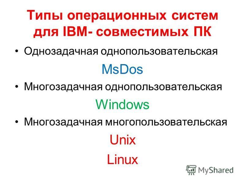 Типы операционных систем для IBM- совместимых ПК Однозадачная однопользовательская MsDos Многозадачная однопользовательская Windows Многозадачная многопользовательская Unix Linux