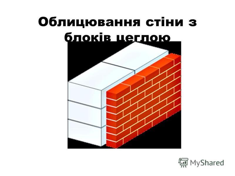 Облицювання стіни з блоків цеглою