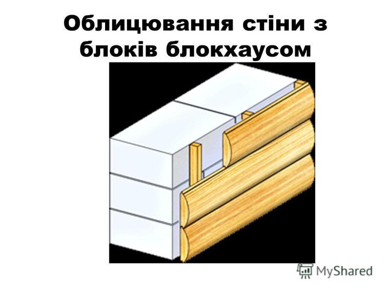 Облицювання стіни з блоків блокхаусом