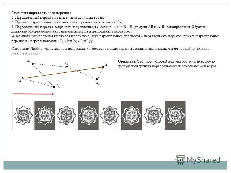 Свойства параллельного переноса 1. Параллельный перенос не имеет неподвижных точек; 2. Прямые, параллельные направлению переноса, переходят в себя; 3. Параллельный перенос сохраняет направление, т.е. если АА 1 и ВВ 1,то лучи АВ и А 1 В 1 сонаправлены