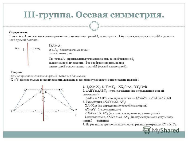 III-группа. Осевая симметрия. Определение. Точки А и А 1 называются симметричными относительно прямой l, если отрезок АА 1 перпендикулярен прямой l и делится этой прямой пополам. А А1А1 l S l (A)= А 1 А и А 1 - симметричные точки. l- ось симметрии Те