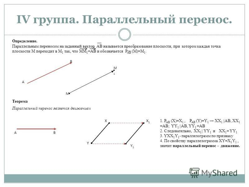 Определение. Параллельным переносом на заданный вектор АВ называется преобразование плоскости, при котором каждая точка плоскости М переходит в М 1 так, что ММ 1 =АВ и обозначается Р АВ (М)=М 1. IV группа. Параллельный перенос. А В М М1М1 Теорема ХX1