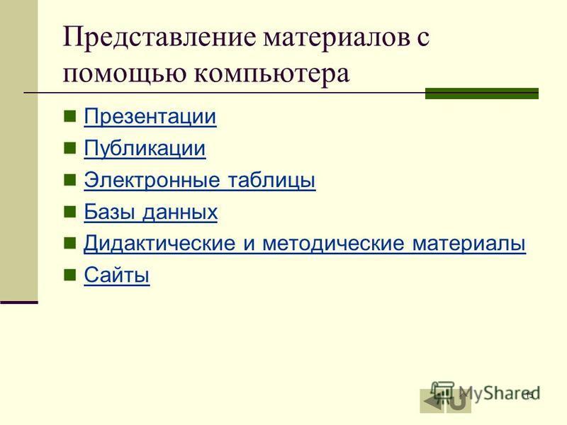 15 Представление материалов с помощью компьютера Презентации Публикации Электронные таблицы Базы данных Дидактические и методические материалы Сайты