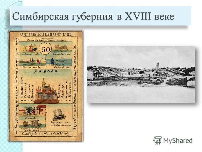 Симбирская губерния в XVIII веке