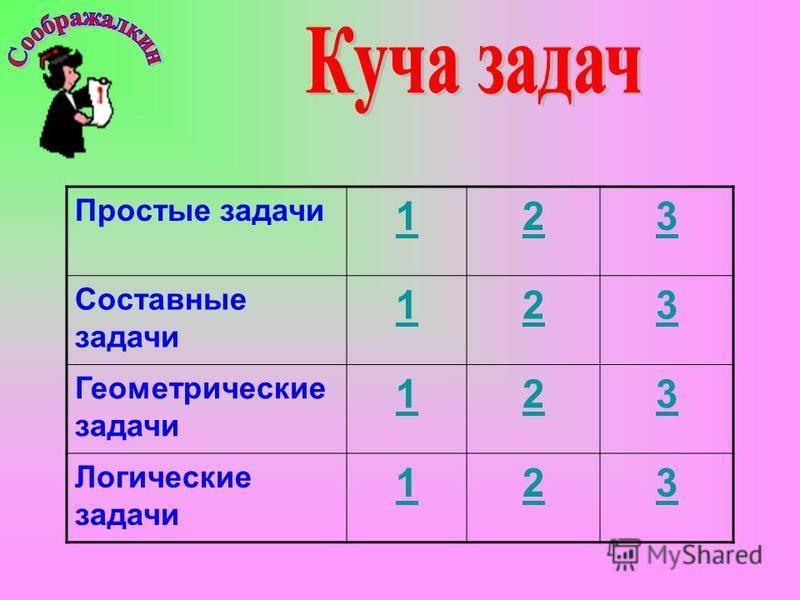 Простые задачи 123 Составные задачи 123 Геометрические задачи 123 Логические задачи 123