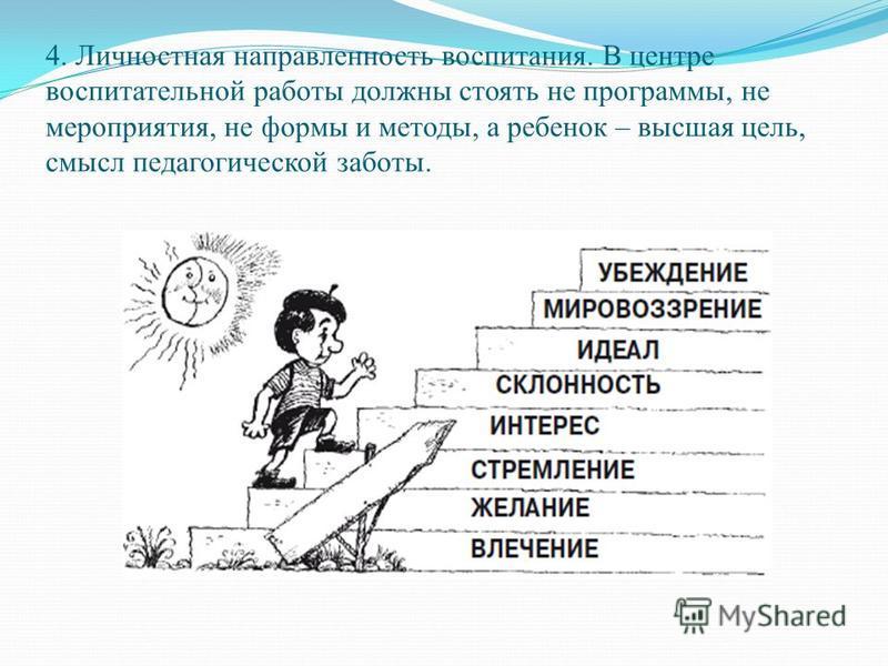 4. Личностная направленность воспитания. В центре воспитательной работы должны стоять не программы, не мероприятия, не формы и методы, а ребенок – высшая цель, смысл педагогической заботы.