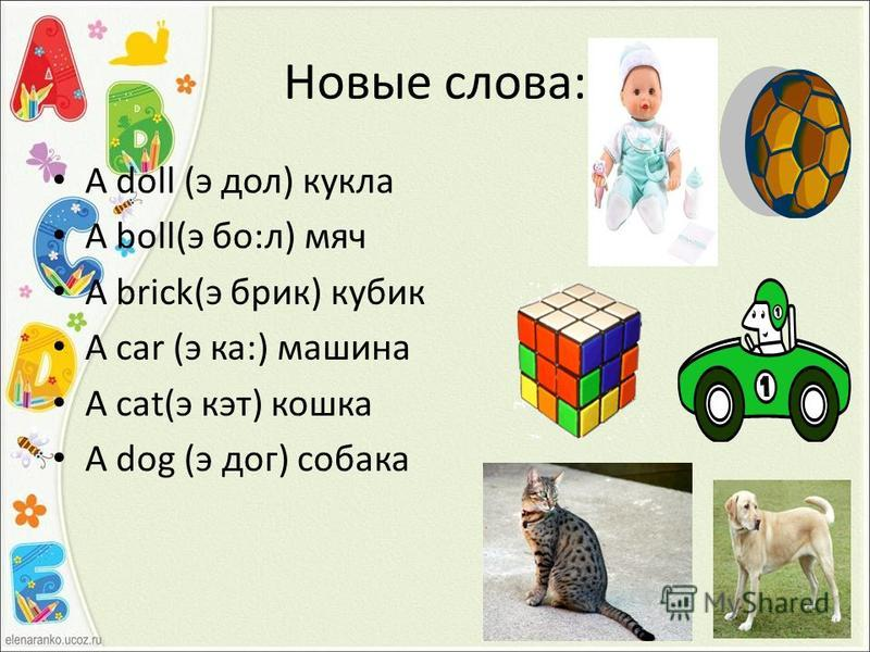Новые слова: A doll (э дол) кукла A boll(э бо:л) мяч A brick(э брик) кубик A car (э ка:) машина A cat(э кэт) кошка A dog (э дог) собака