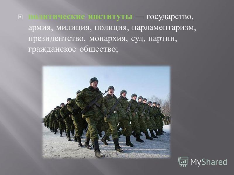 политические институты государство, армия, милиция, полиция, парламентаризм, президентство, монархия, суд, партии, гражданское общество ;
